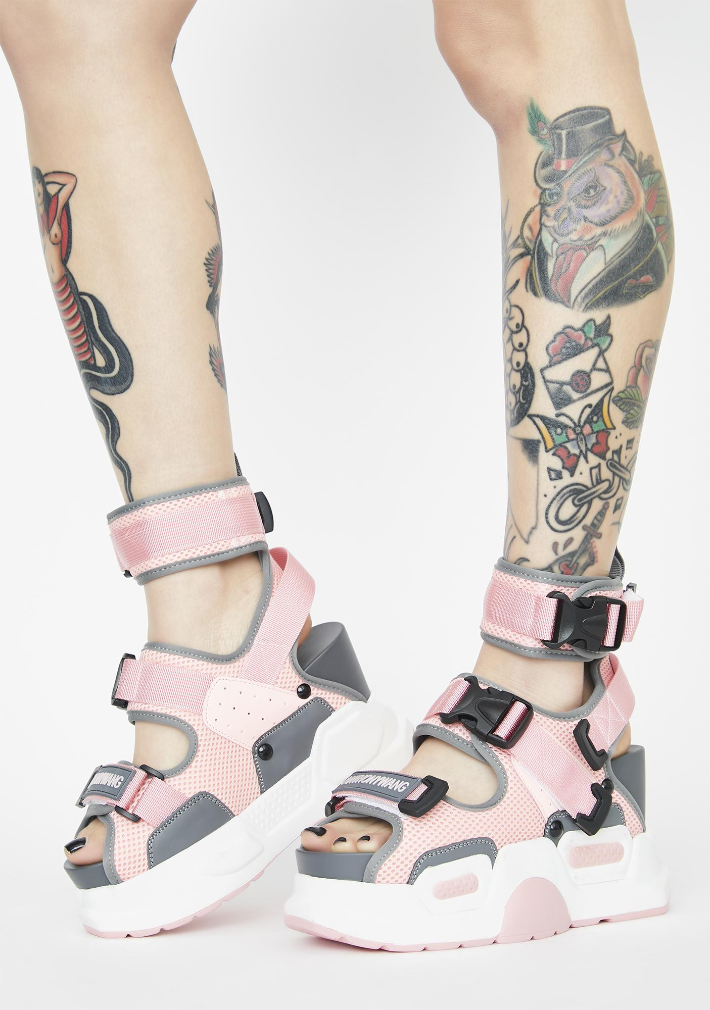Anthony Wang Pink Mulberry Platform Sandals