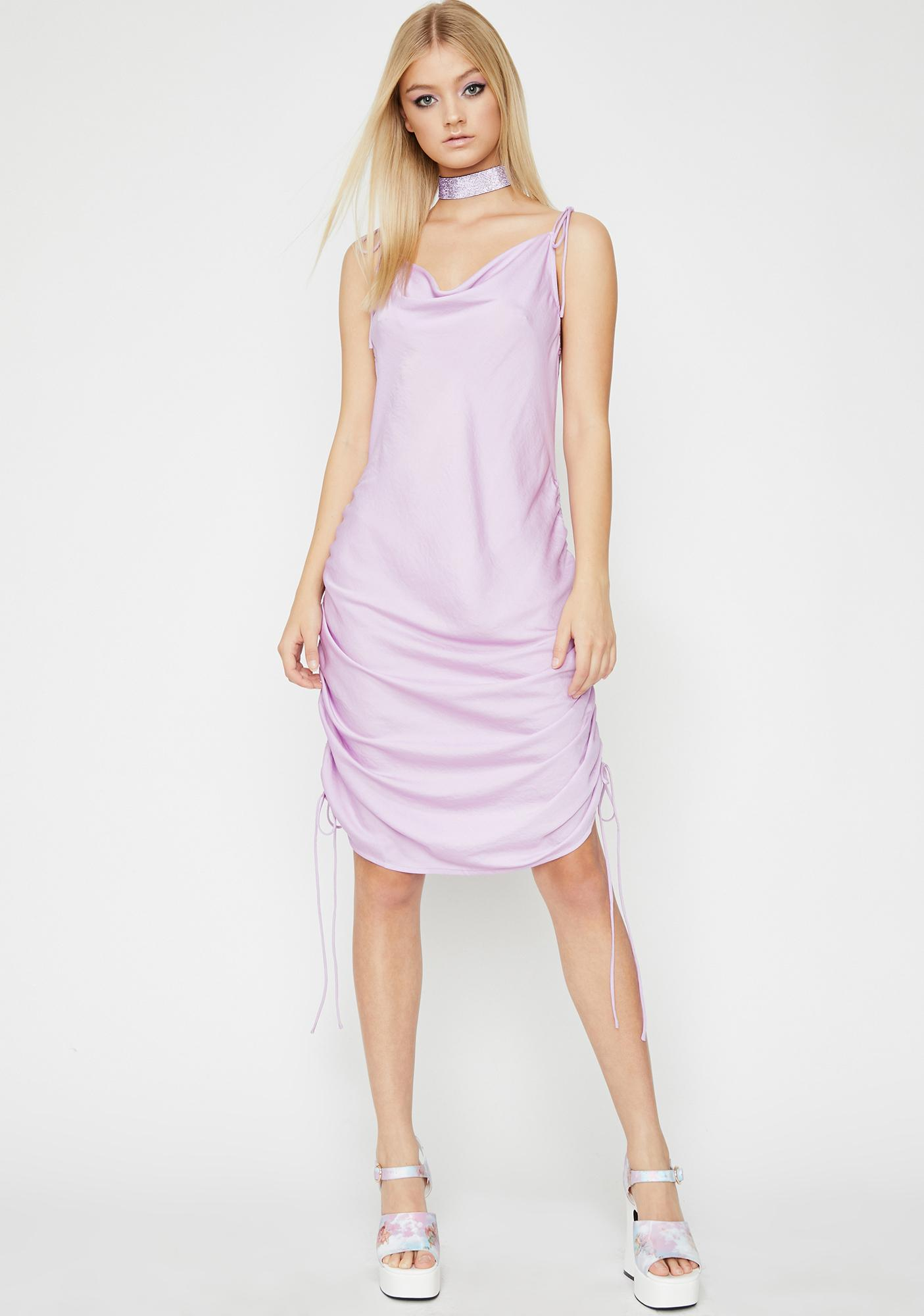 6bbc38dafb95 Purple Ruched Cowl Neck Midi Slip Dress | Dolls Kill
