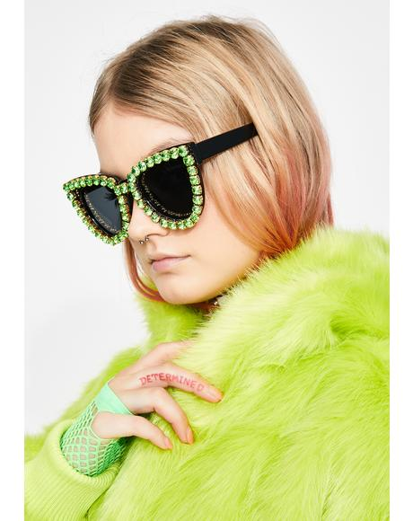 Emerald Blame The Fame Cat Eye Sunglasses