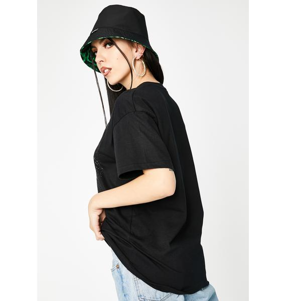 Local Heroes Black Flower Oversized Graphic Tee