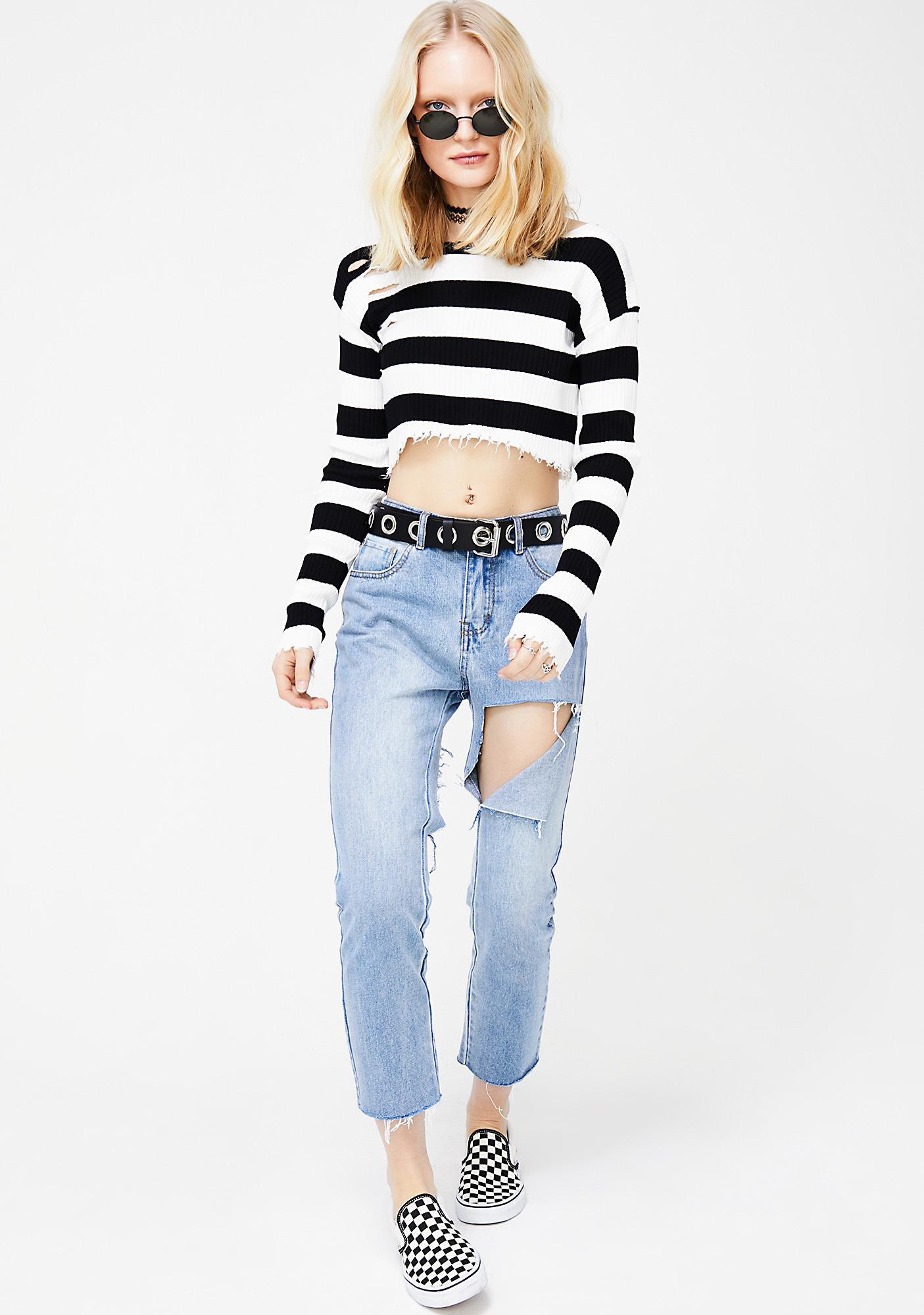 Onyx Raw Talent Cropped Sweater