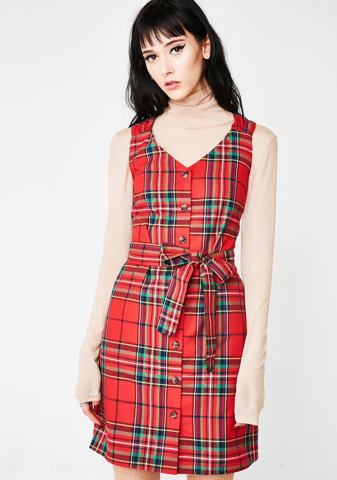 Always Tardy Belted Dress