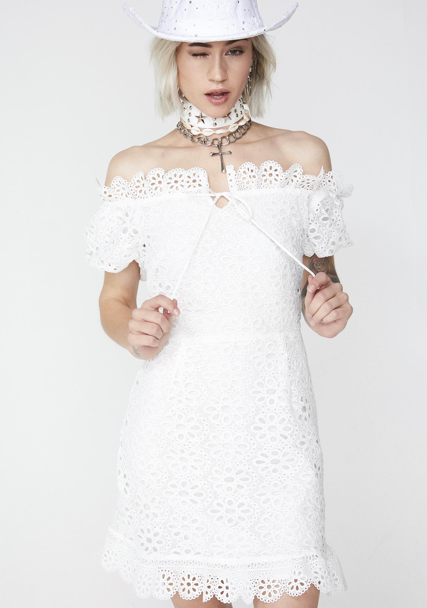 766a7e8b3eca White Off The Shoulder Eyelet Mini Dress