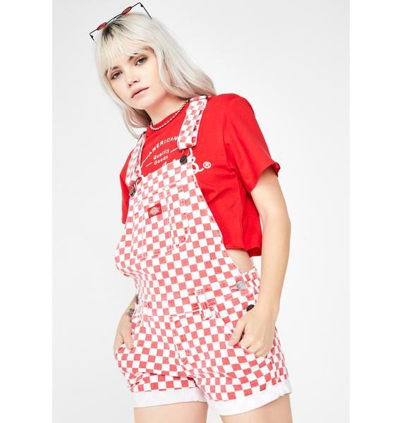 Dickies Girl Litty Checkered Shortalls