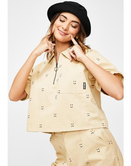 Happy Sad Cropped Zip Shirt