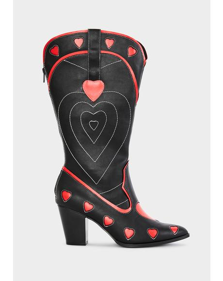 Black Heart Space Cowgirl Boots