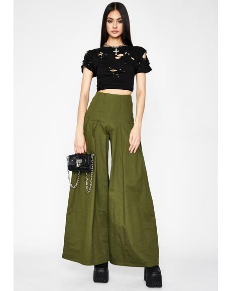 Olive Wanderlust Heart Wide Leg Pants