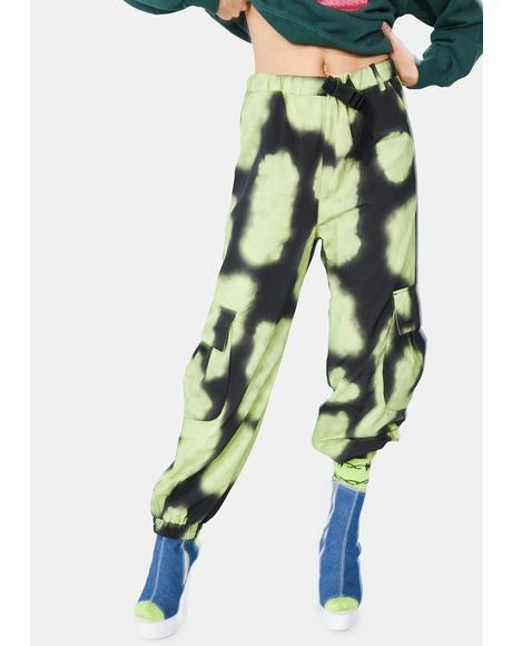 Green Tie Dye Nylon Cargo Pants