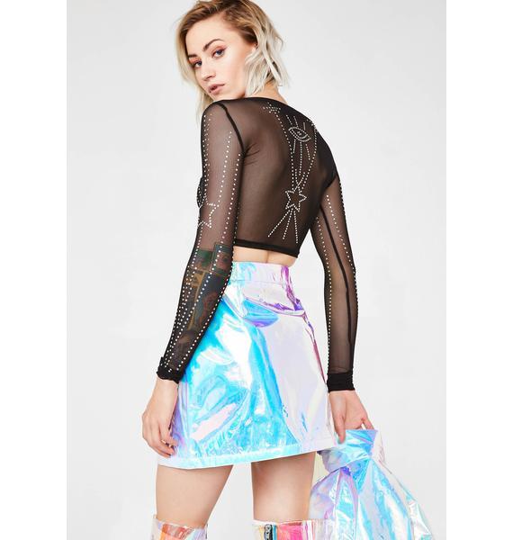 Jaded London Blue Crinkle Foil Mini Skirt