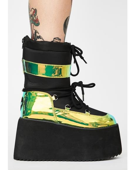 Green Holographic Qronic Winter Boots