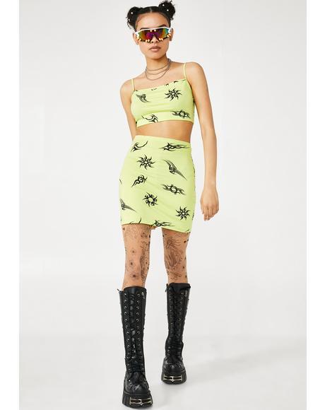Lime Tribal Kimmy Skirt Set