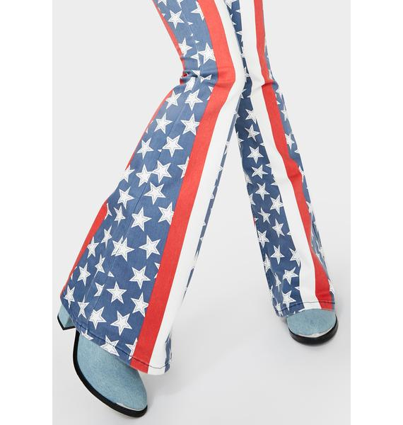 Free People Stars & Stripes Penny Flare Jeans