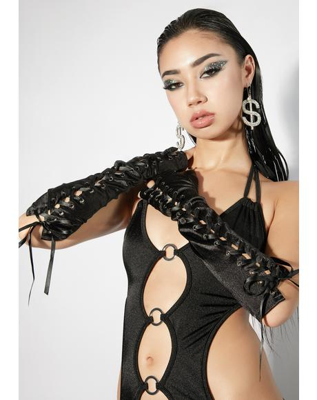 Midnight Mega Babe Lace-Up Gloves