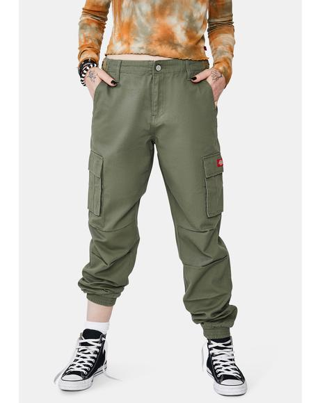 Olive Utility Slash Pocket Cargo Joggers