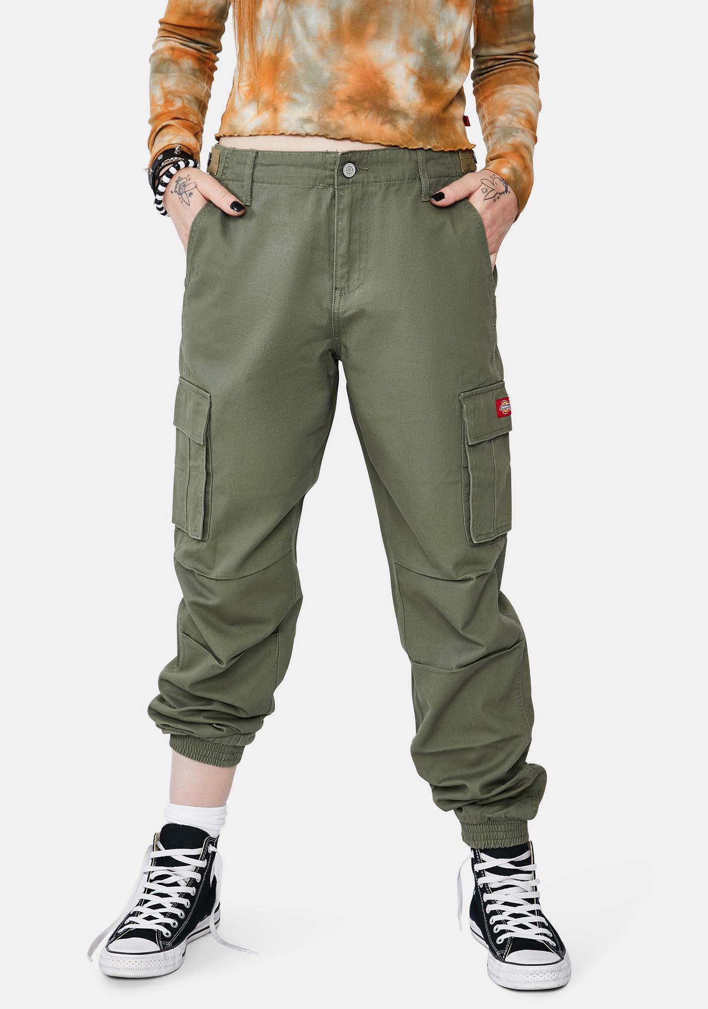 Dickies Girl Olive Utility Slash Pocket Cargo Joggers