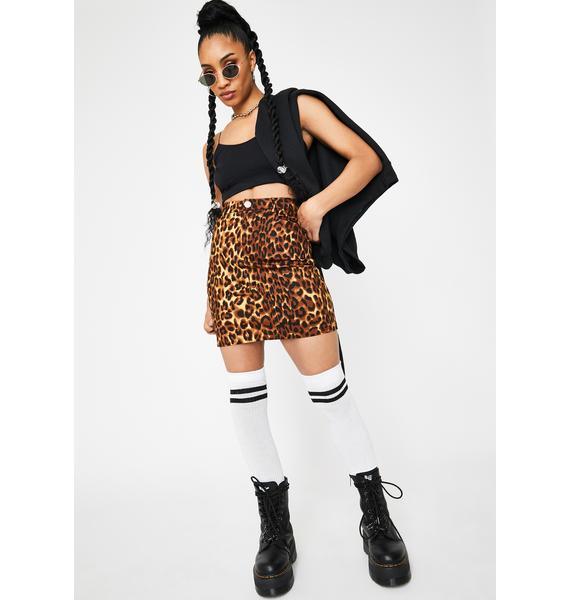 Daisy Street Leopard High Waisted Mini Skirt