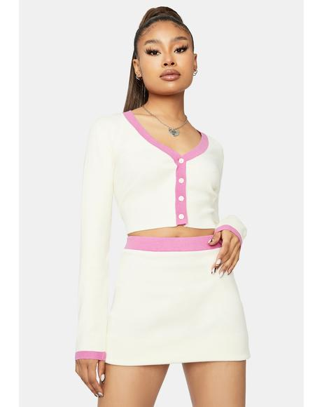 Darling Waiting For You Cropped Skirt Set