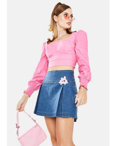 Pink Peasant Crop Top