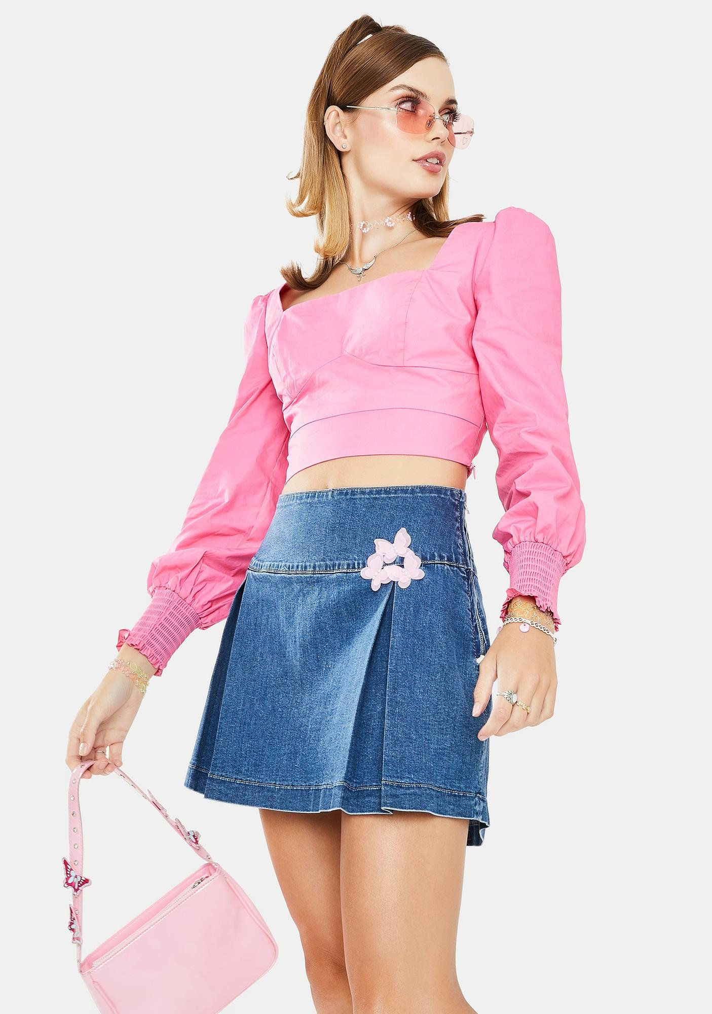 Glamorous Pink Peasant Crop Top