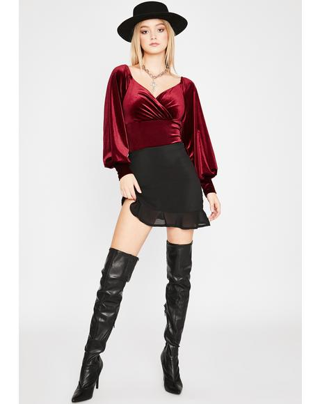 Wine Night Owl Velvet Bodysuit