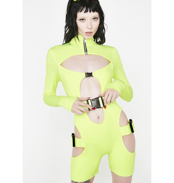 Lipt The Label Slime Long Sleeve Zip Front Unitard