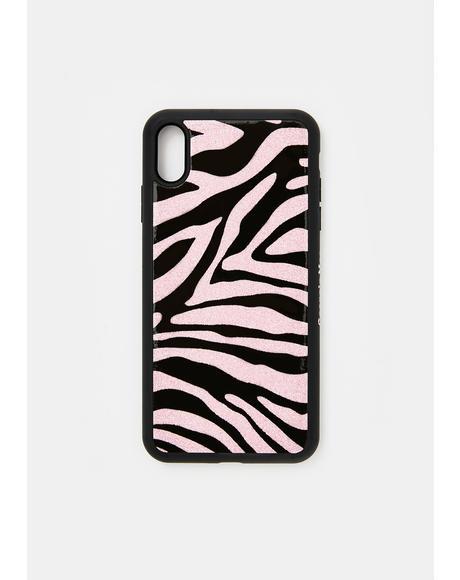 Glitter Pink Zebra IPhone Case