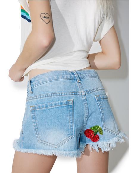 Cherry Denim Shorts