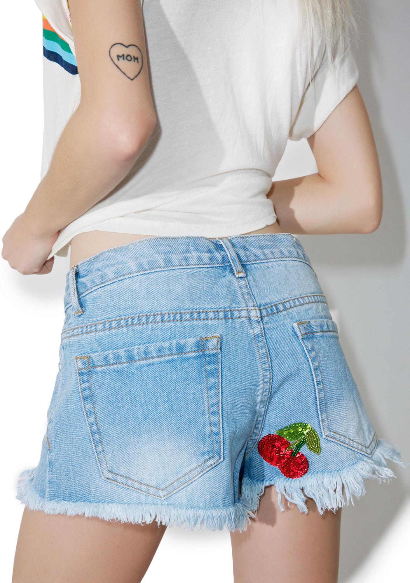 Rad and Refined Cherry Denim Shorts