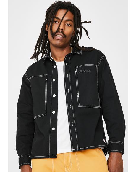 Black Stitch Work Shirt