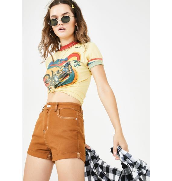 Momokrom Camel Cuff Denim Shorts