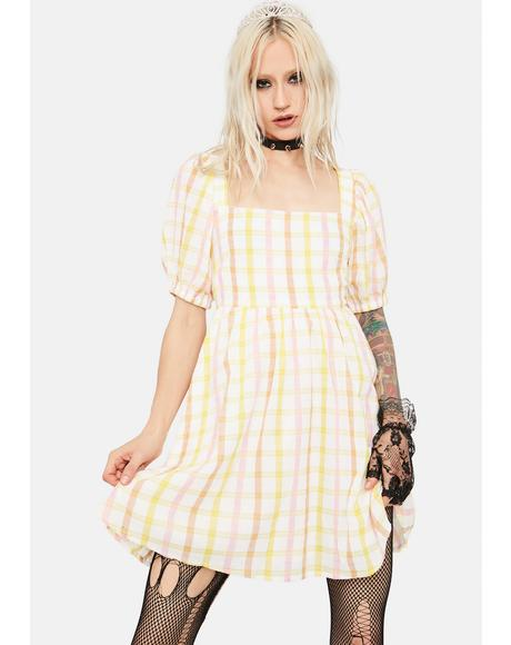 Farm Fairest Plaid Tie Back Babydoll Dress