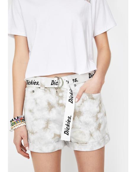 Khaki Tie Dye Rolled Hem Belted Shorts