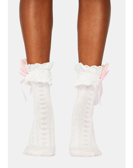 Honey Bunny Ruffle Crew Socks
