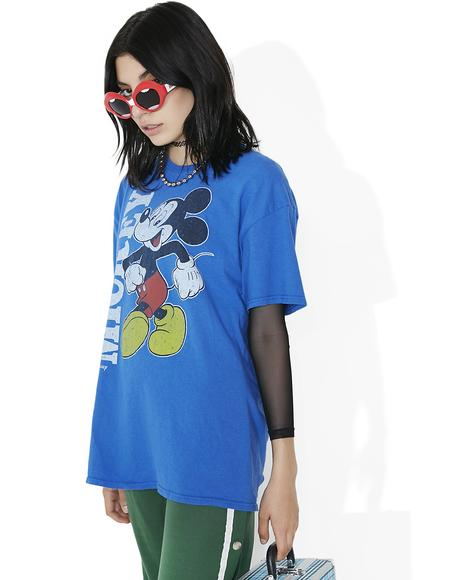 Blue Retro Mickey Tee