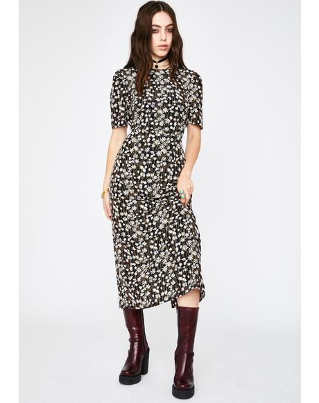 Black Daisy Midi Dress