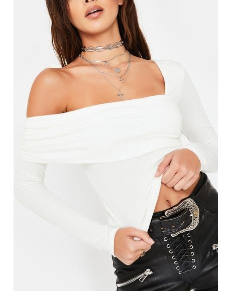 White Asymmetric Neckline Long Sleeve Top