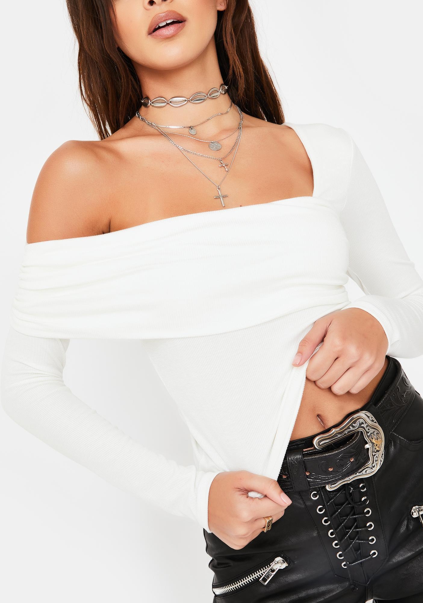 Honey Punch White Asymmetric Neckline Long Sleeve Top