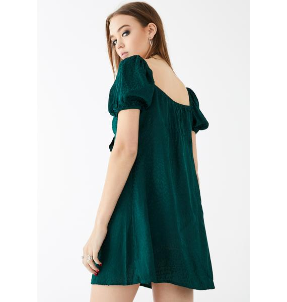 Motel Cheetah Forest Green Ropele Dress