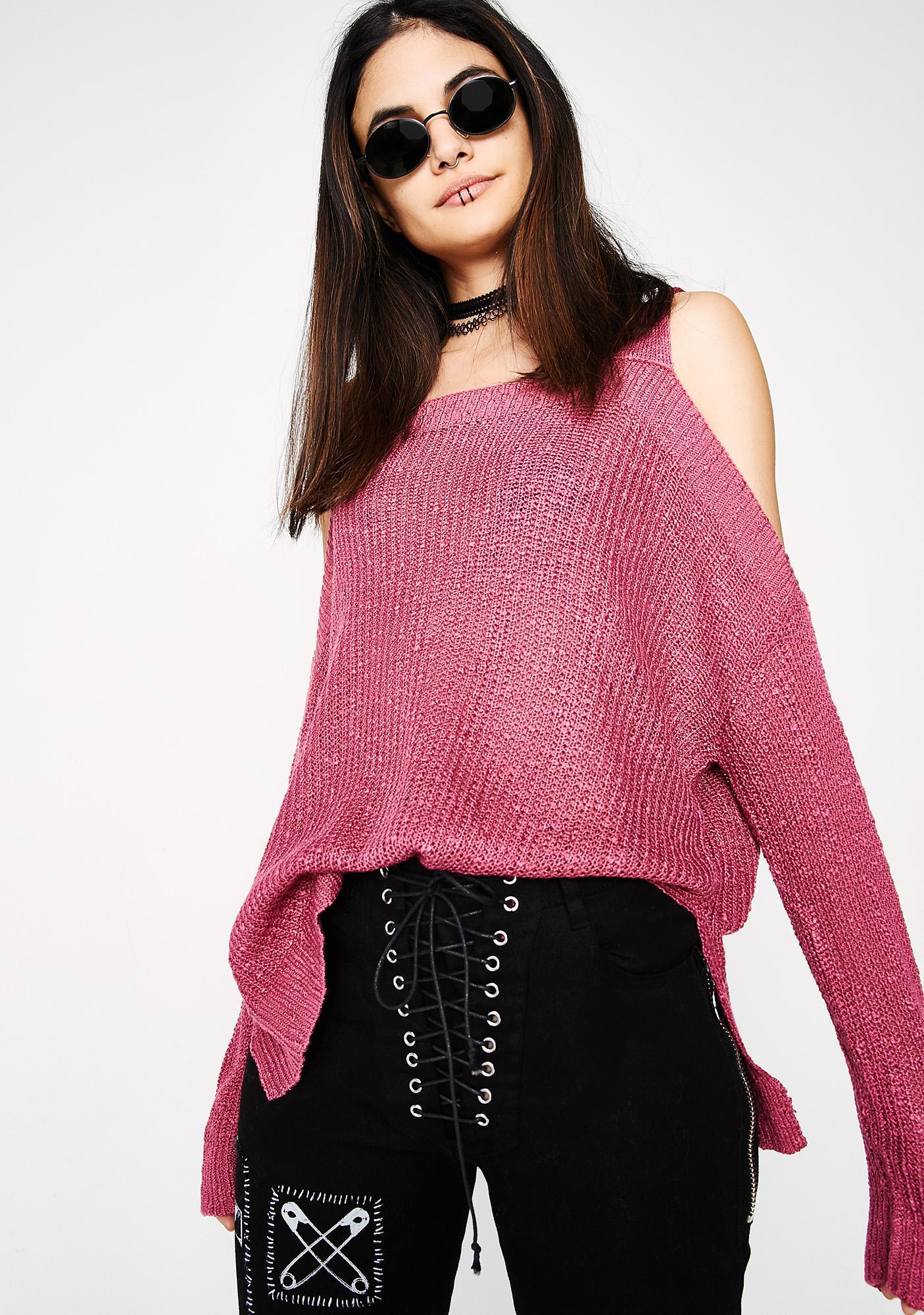 No Regrets Cold Shoulder Sweater