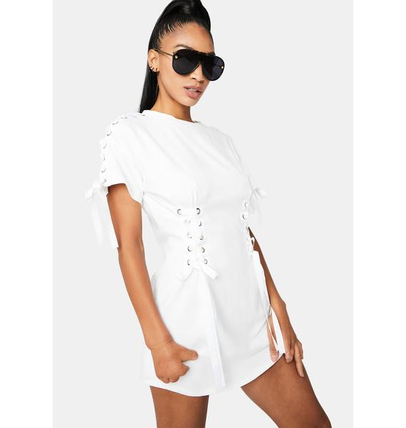 Crazy In Luv Lace Up Shirt Dress
