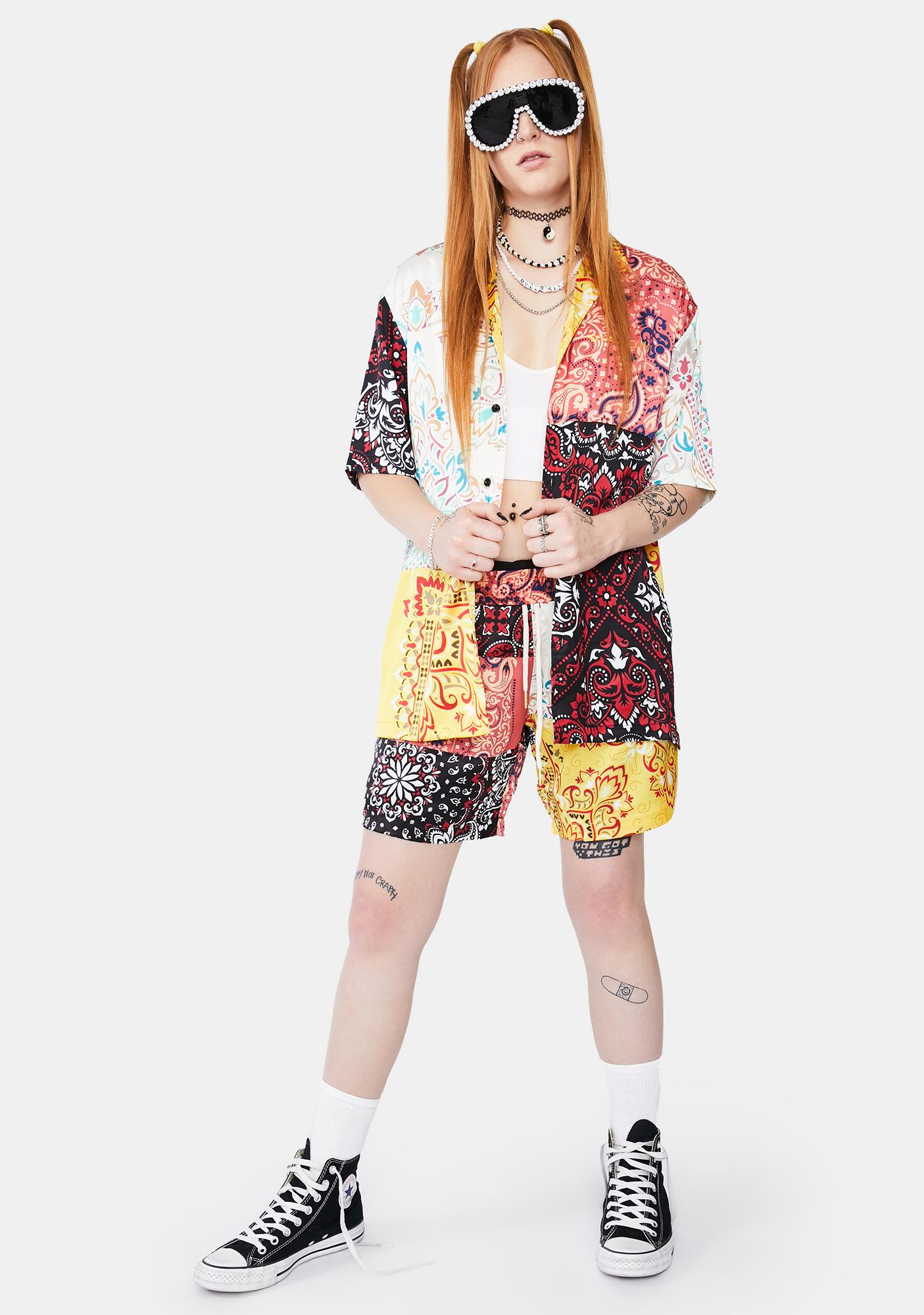 Diamond Supply Co Paisley Patchwork Button Up Shirt