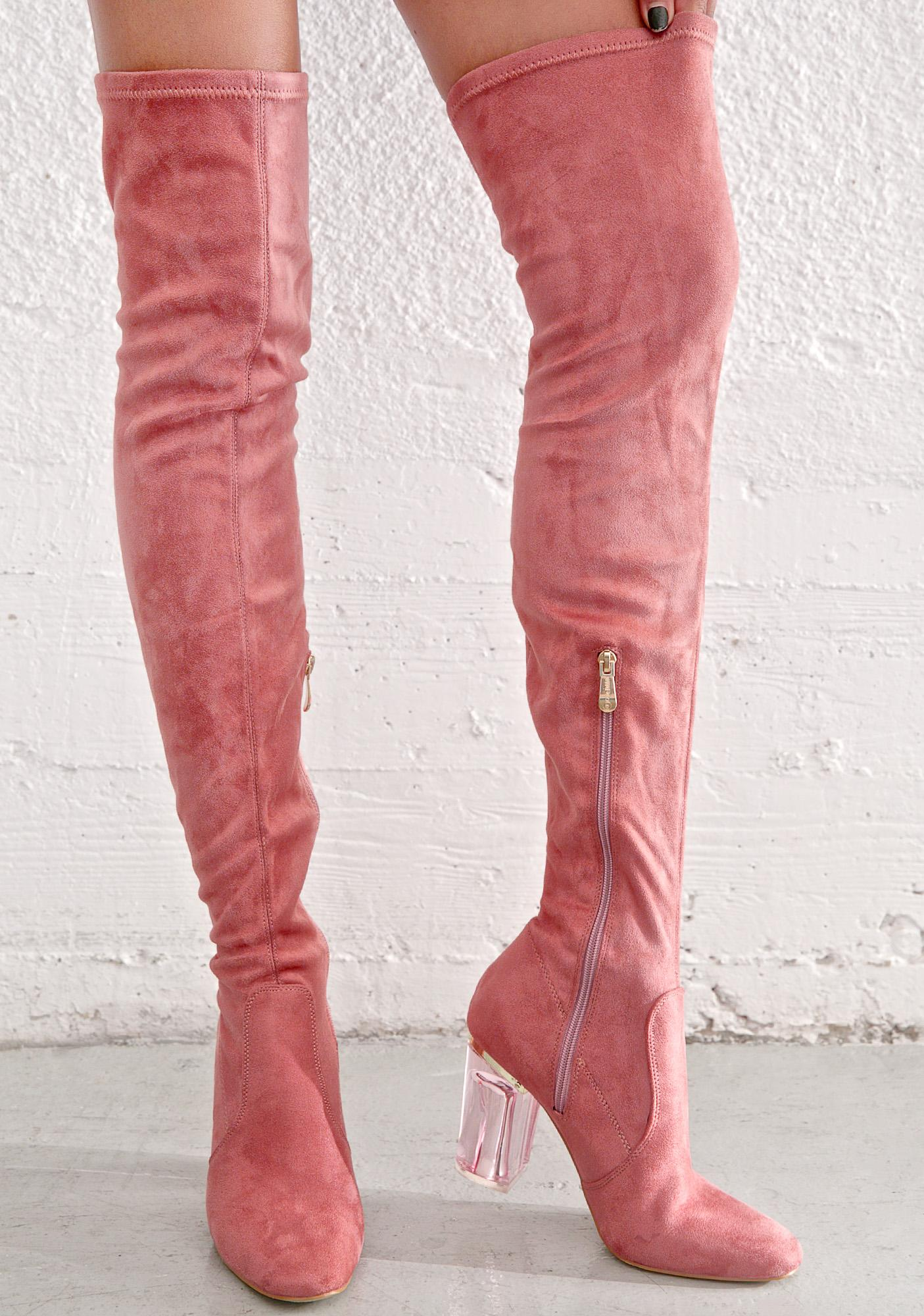 Pink Thigh High Clear Heel Boot | Dolls Kill
