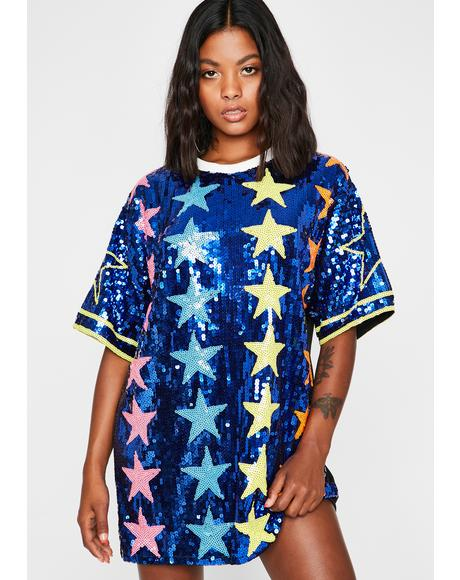 Royal Starlight Starbright Sequin T-Shirt Dress