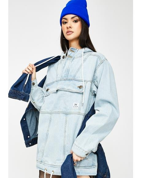Light Stone Wash Denim Anorak Jacket