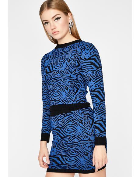 Wild Vertigo Zebra Skirt Set