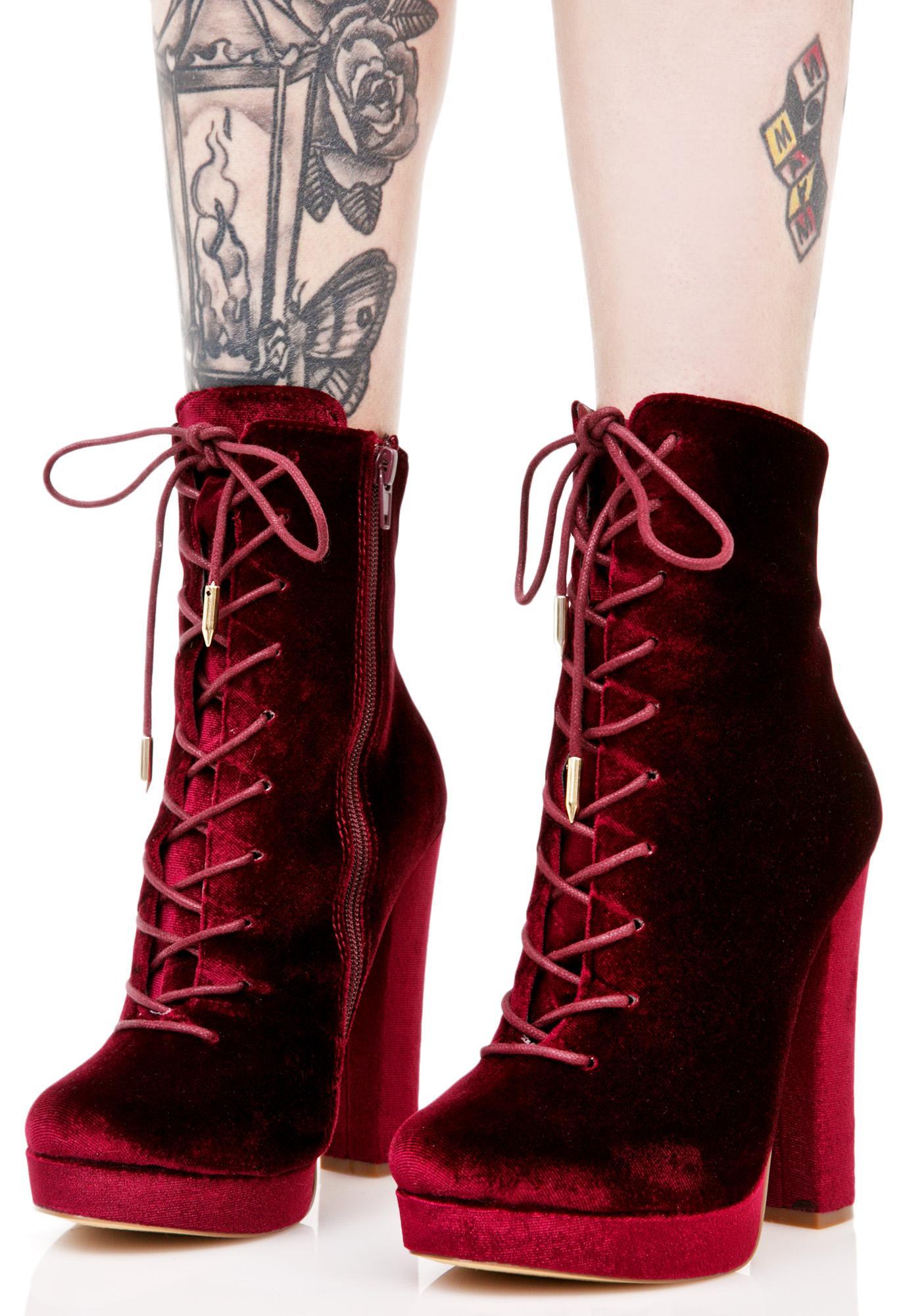 Wine Alea Lace-Up Boots