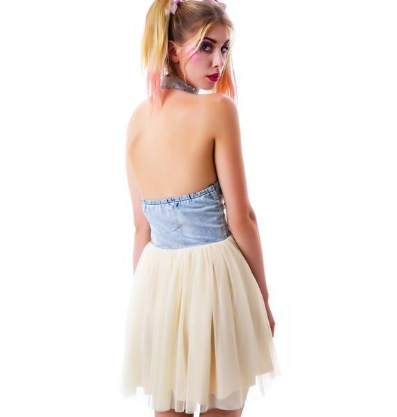 Feelin Blue Mesh Halter Dress