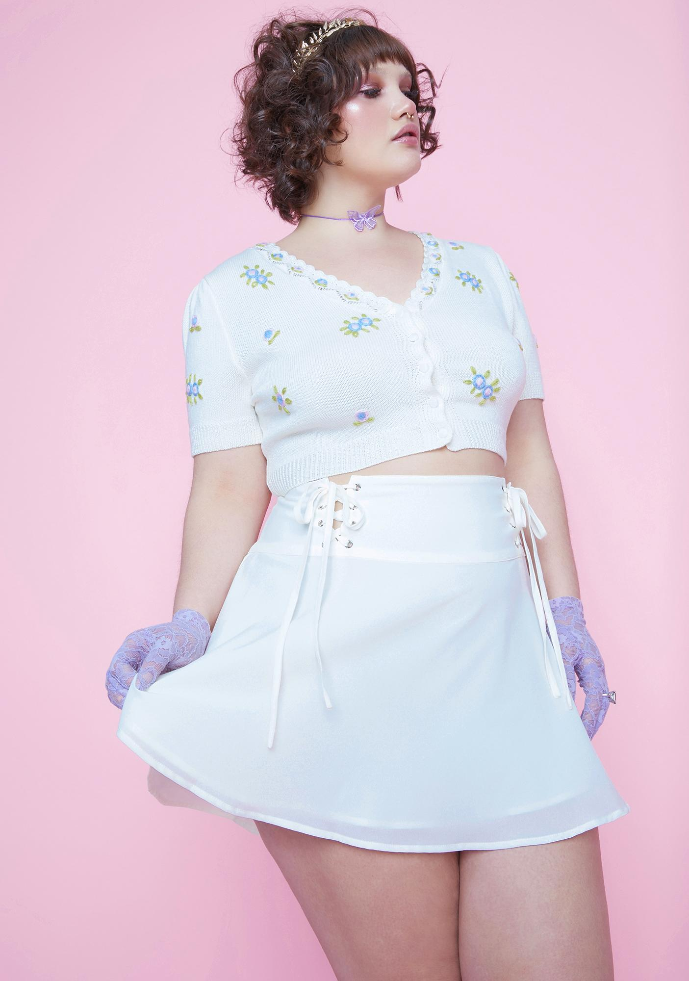 Sugar Thrillz Miss Eve's Garden Lace-Up Satin Skirt
