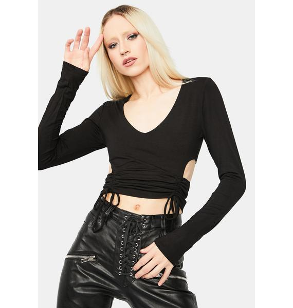I'm A Catch Ruched Cutout Crop Top