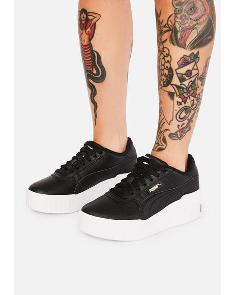 Black Cali Wedge Platform Sneakers